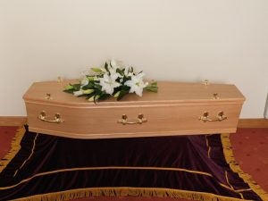 Light Oak Veneer Coffin