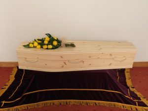 Solid Pine Coffin with Rope Handles